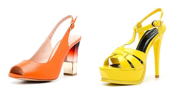 Фото: оранжевые и желтые босоножки