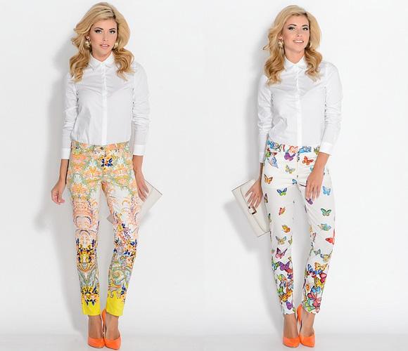 Принты на брюки: арабские цветочные мотивы и на тему фауны