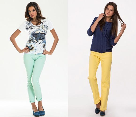 Фото: салатовые и желтые джинсы