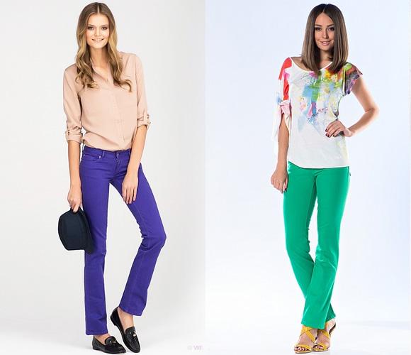 Фото: фиолетовые и зеленые джинсы