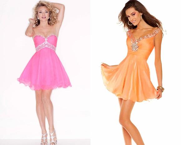 Фото: выпускное платье розового цвета и оранжевого оттенка