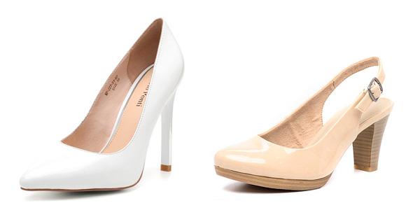 Фото: туфли белого и телесного цвета