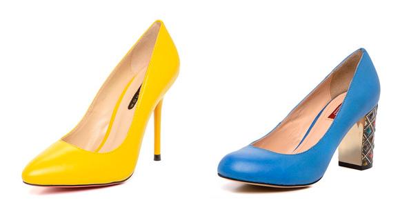 Фото: женские туфли желтого и синего цвета