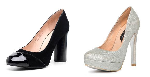 Фото: лакированные черные туфли и серебристые вечерние туфли
