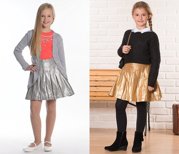 Серебристая и золотистая юбки