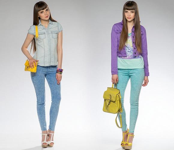 Фото: узкие джинсы нейтрального цвета