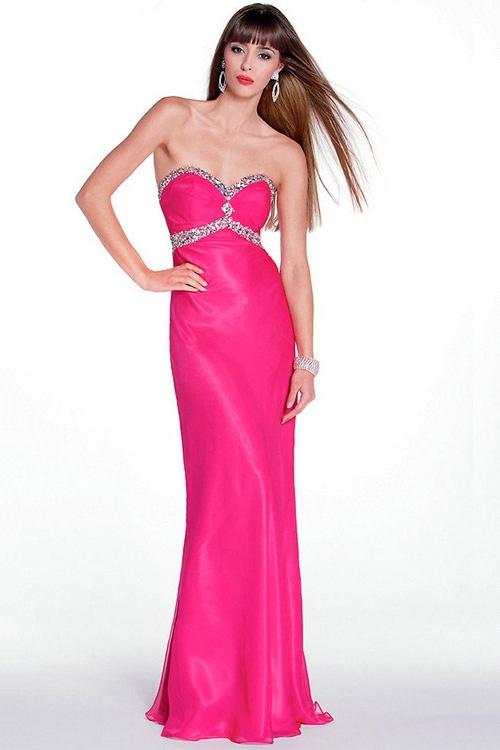 Фото: длинное розовое вечернее платье