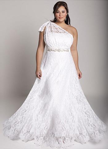 Свадебное платье белого цвета для полных